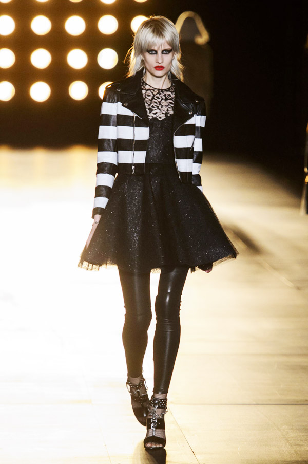 Saint Laurent Hedi Slimane FW15 tuille dress striped jacket leather leggings