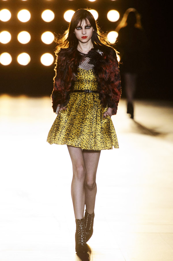 Saint Laurent Hedi Slimane FW15 yellow leopard dress red fur jacket