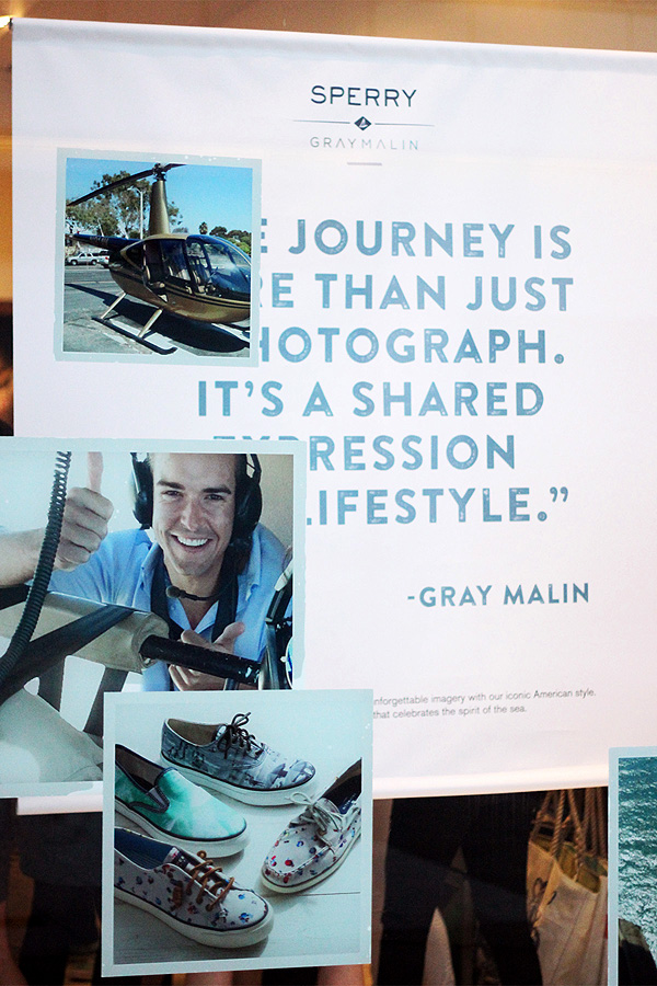 Sperry x Gray Malin launch party window signage
