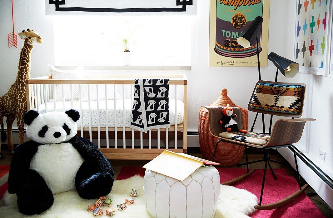 Coco Rocha nursery by Alex Reid via One Kings Lane crib moroccan pouf sheepskin navajo chair