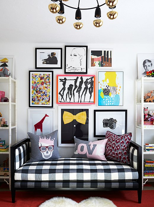 Coco Rocha nursery by Alex Reid via One Kings Lane gingham settee gallery wall punk pillows