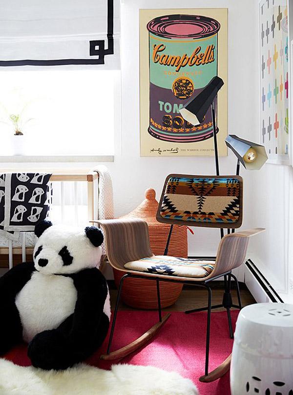 Coco Rocha nursery by Alex Reid via One Kings Lane mod rocking chair