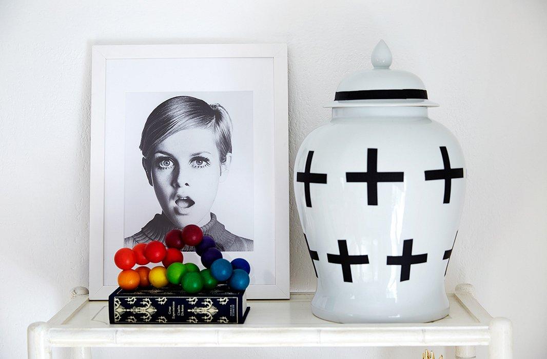 Coco Rocha nursery by Alex Reid via One Kings Lane shelf Twiggy DIY ginger jar