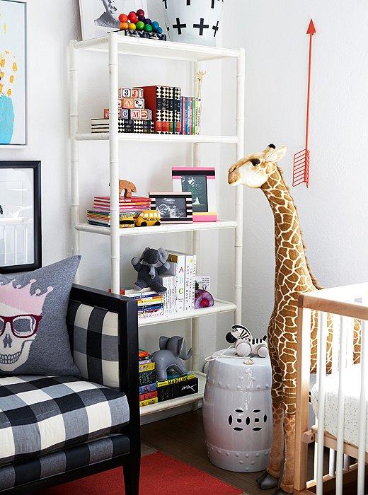 Coco Rocha nursery by Alex Reid via One Kings Lane shelf giraffe