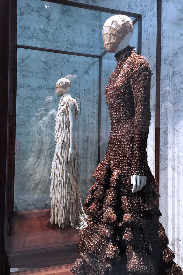 Alexander McQueen Savage Beauty Victoria and Albert Museum Romantic Naturalism shell and feather dresses