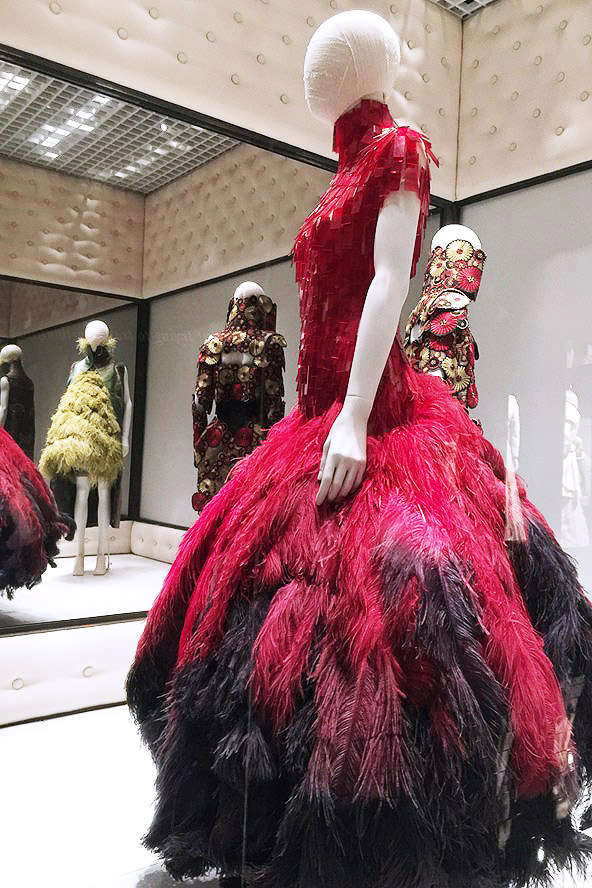 Alexander McQueen Savage Beauty Victoria and Albert Museum Voss red feathered skirt