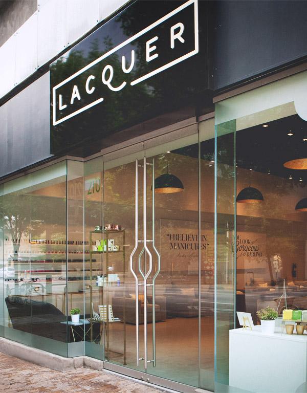 Lacquer Austin Carla Hatler client opening salon storefront signage  logo by Erika Brechtel