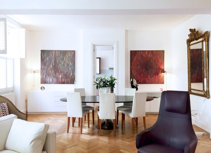 art flat Kensington London Unity Cantwell 01 dining room large paintings
