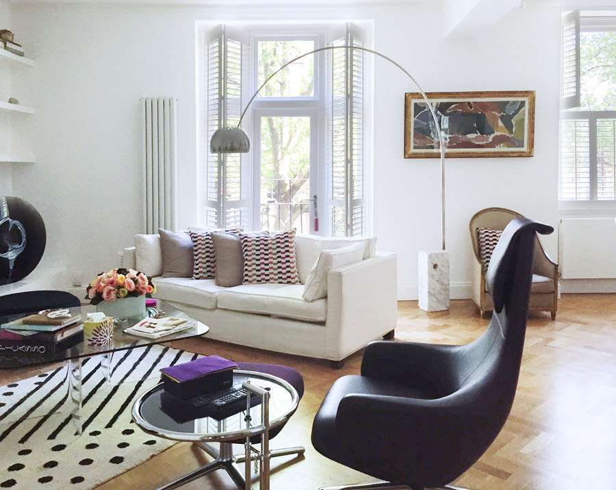 art flat Kensington London Unity Cantwell 03 living room sofa arc lamp garden shutters