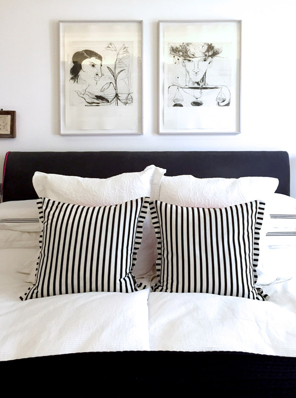 art flat Kensington London Unity Cantwell 15 bedroom white black striped bedding drawings