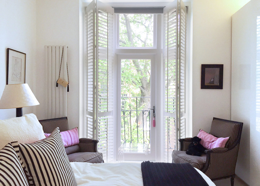 art flat Kensington London Unity Cantwell 20 bedroom striped chairs shutters balcony