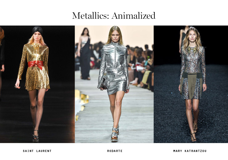front row forecast Jolie Smith metallics SS15 animalized