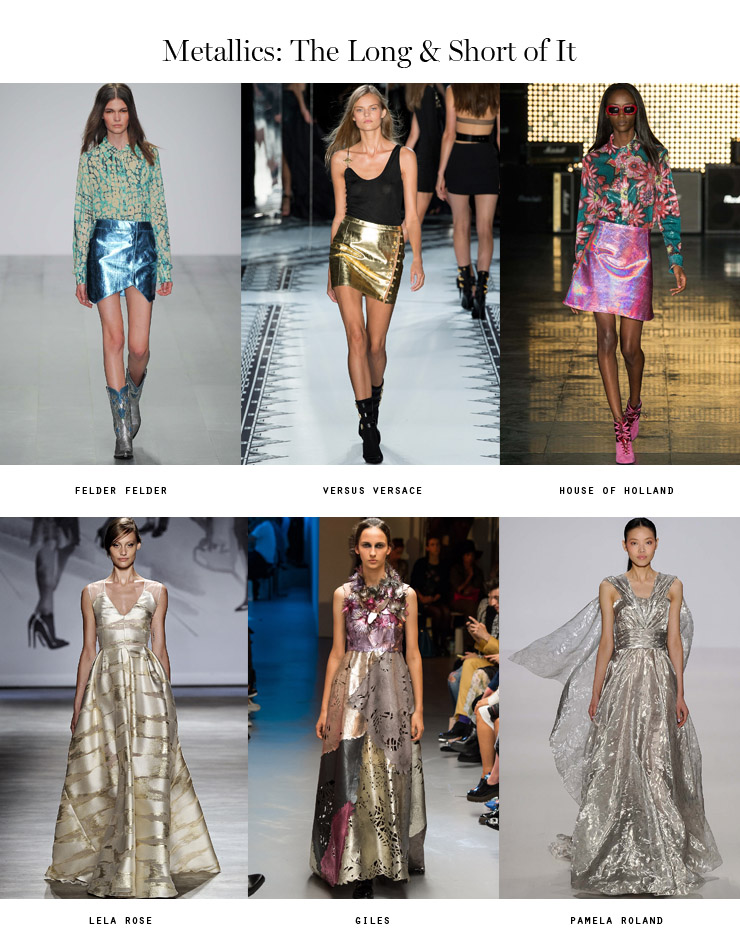 front row forecast Jolie Smith metallics SS15 the long and short of it