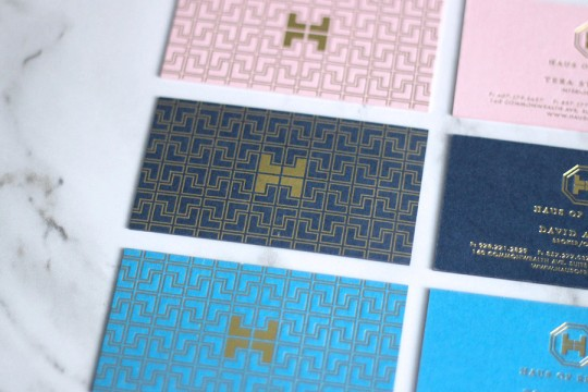 Haus-of-Realty-gold-foil-logo-business-card-pattern-by-Erika-Brechtel