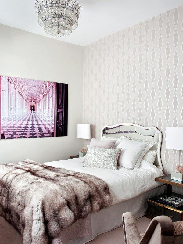 Living Pink Madrid apt vintage femme elegance glam bedroom grays crystal pendant fur pink Versailles photograph