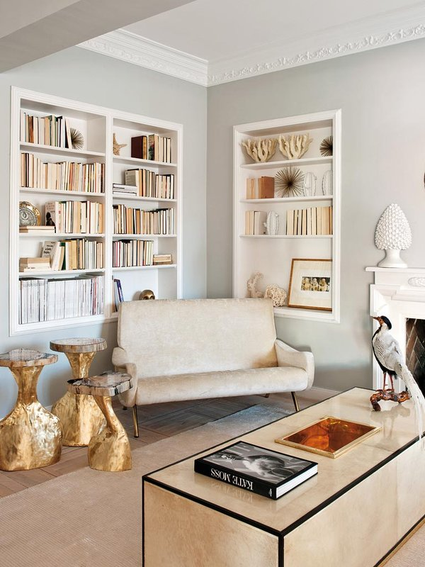 Living Pink Madrid Apt Vintage Femme Elegance Glam Living Room Built In  Bookcases Jon Urgoiti