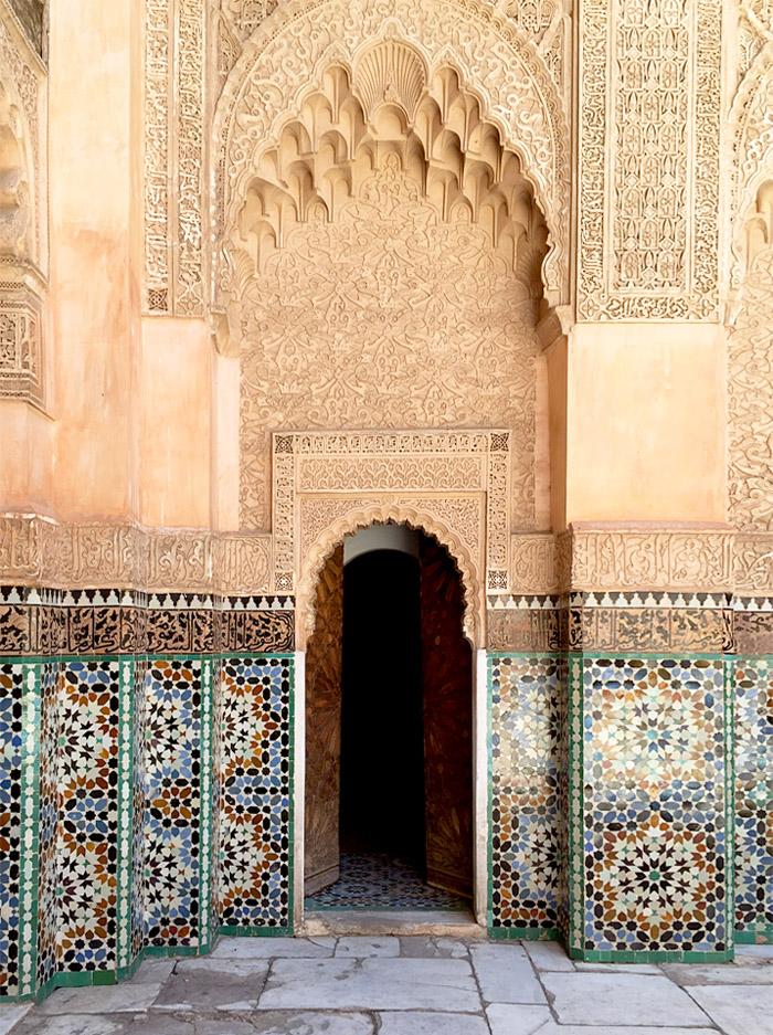 Morocco Marrakech madrasa ben youssef courtyard doorway Erika Brechtel