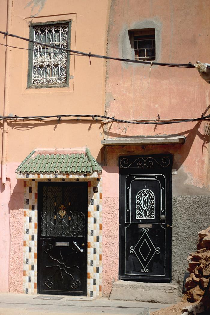 Morocco Marrakech medina house fronts Erika Brechtel
