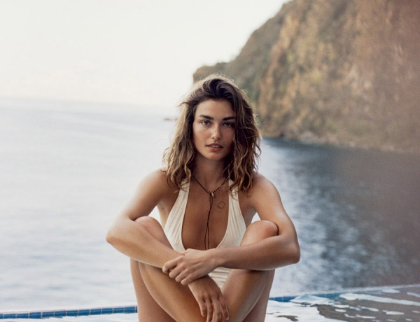 PORTER summer 2015 Andreea Diaconu by Cass Bird ivory Chloe one piece swimswuit