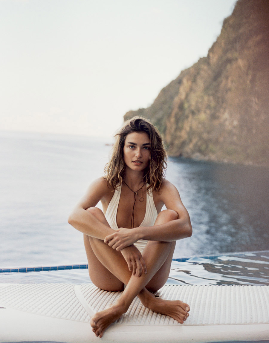 PORTER Summer 2015 Andreea Diaconu by Cass Bird ivory Chloe one piece