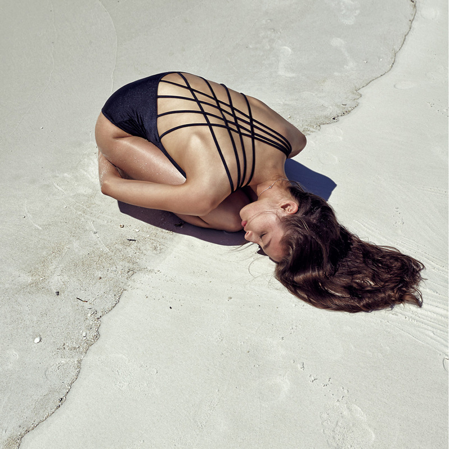 alexandra agoston by chris colls beach black swim summer via studded hearts