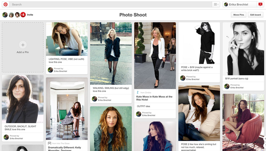 Tip: Create a pinboard to establish look & feel, attitude, wardrobe, potential poses