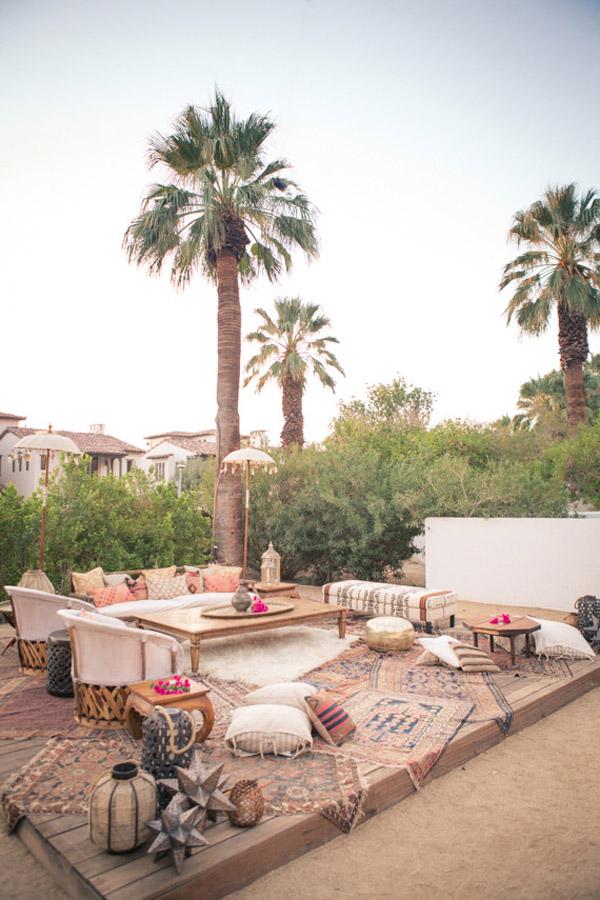 summer Moroccan dinner party inspo Korakia Palm Springs seating via 100 Layer Cake
