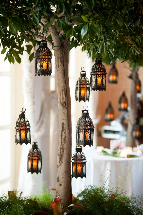 summer Moroccan dinner party inspo hanging Moroccan lanterns via Elizabeth Anne Designs