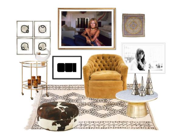 Chairish accent chair design challenge Erika Brechtel 1960s Mediterranean jetsetter Slim Aarons Brit Ekkland