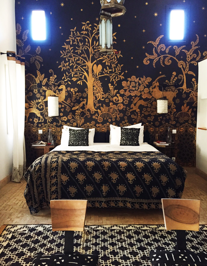 Morocco Marrakech Peacock Pavilions Maryam Montague bedroom black gold mural Erika Brechtel