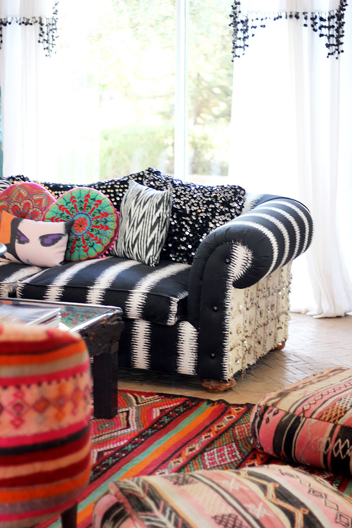 Morocco Marrakech Peacock Pavilions Maryam Montague mixed textiles pillows Erika Brechtel