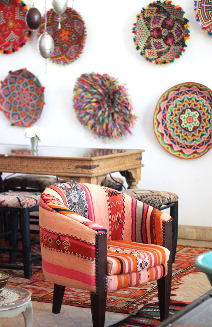 Morocco Marrakech Peacock Pavilions Maryam Montague patchwork kilim chair Erika Brechtel