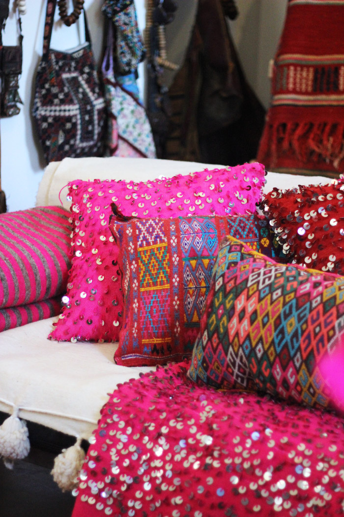 Morocco Marrakech Peacock Pavilions Maryam Montague souk for charity pink kilim pillows Erika Brechtel