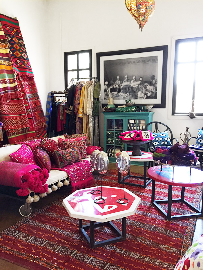 Morocco Marrakech Peacock Pavilions Maryam Montague souk pink kilim pillows rugs Erika Brechtel