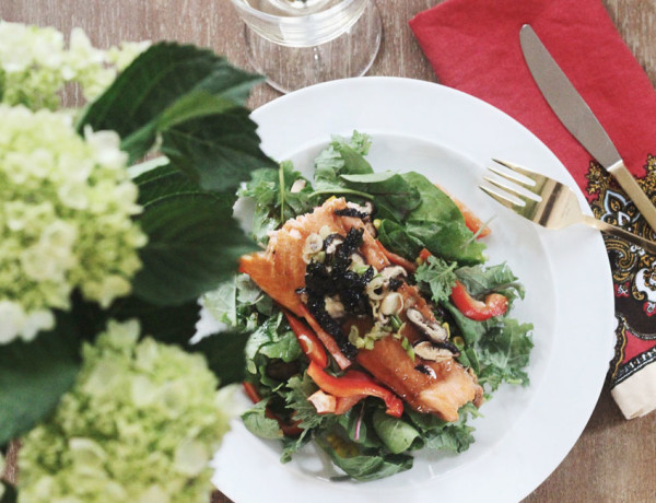 The Mix with Yuki Salmon Salad with Shiitake Mushrooms and Soy Vinaigrette recipe