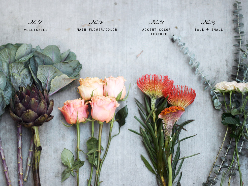 vegetable floral arrangement DIY step 1 flowers