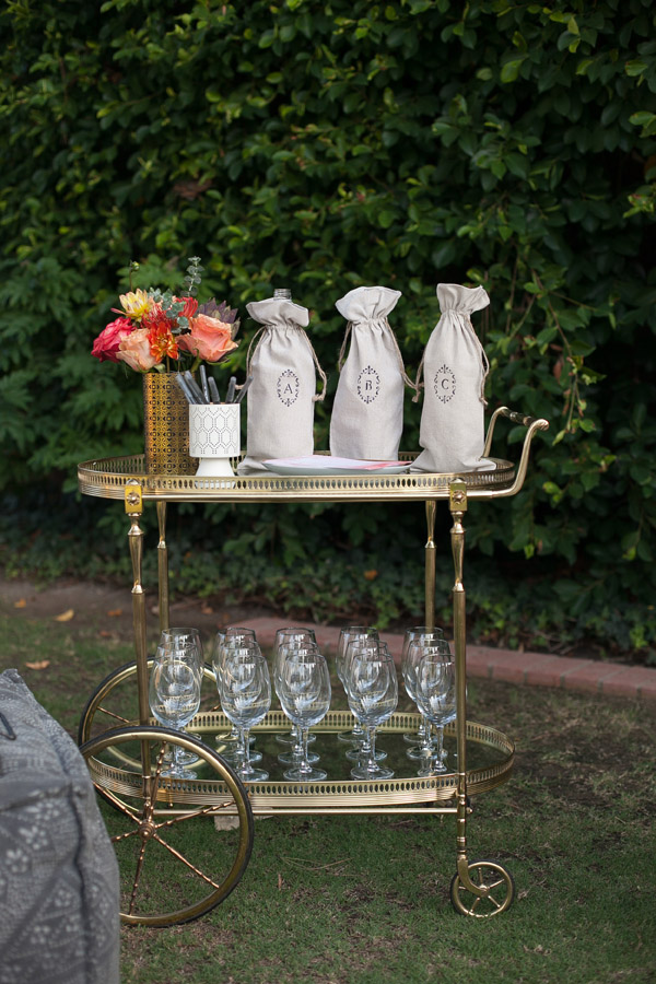 Erika Brechtel outdoor Moroccan party wine tasting photo by Jen Daigle 014 bar cart