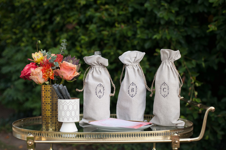 Erika Brechtel outdoor Moroccan party wine tasting photo by Jen Daigle 018 wine bottle bags