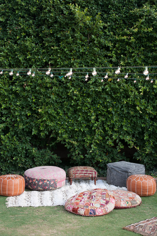 Erika Brechtel outdoor Moroccan party wine tasting photo by Jen Daigle 143 sitting area poufs