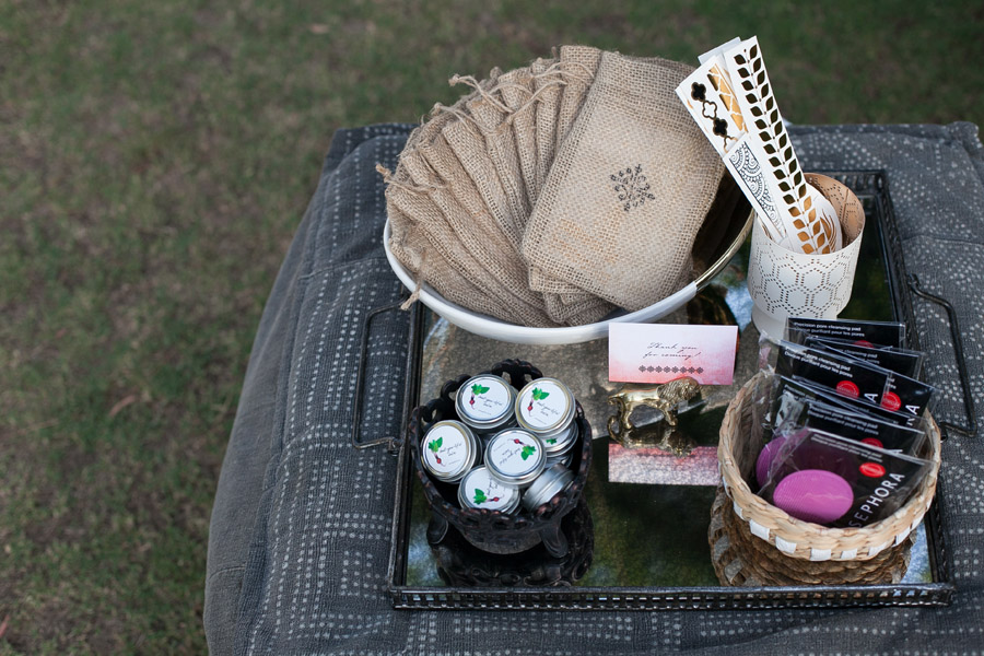 Erika Brechtel outdoor Moroccan party wine tasting photo by Jen Daigle 162 favor bags tray