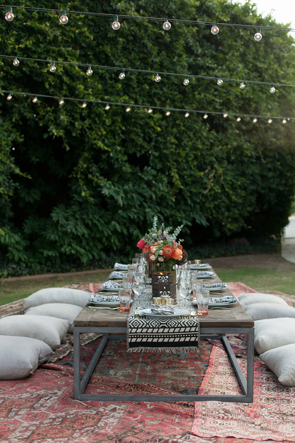 Erika Brechtel outdoor Moroccan party wine tasting photo by Jen Daigle 302 table rugs pillows