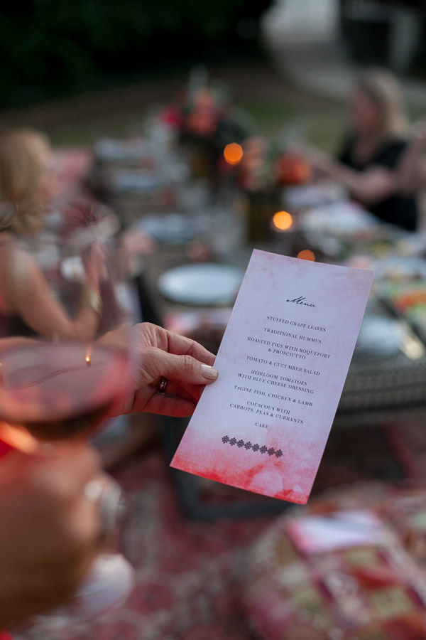 Erika Brechtel outdoor Moroccan party wine tasting photo by Jen Daigle 490 menu