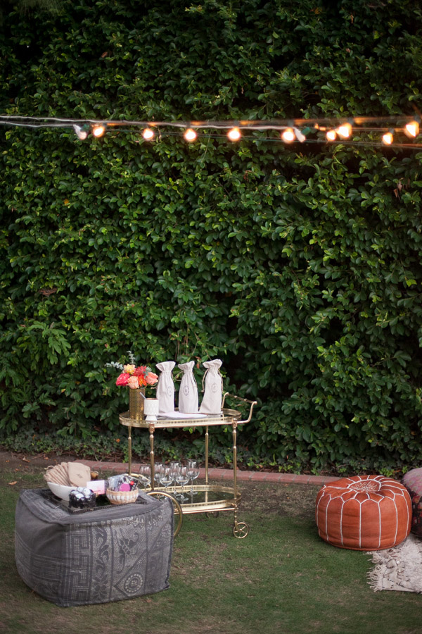 Erika Brechtel outdoor Moroccan party wine tasting photo by Jen Daigle 625 bar cart favor tray