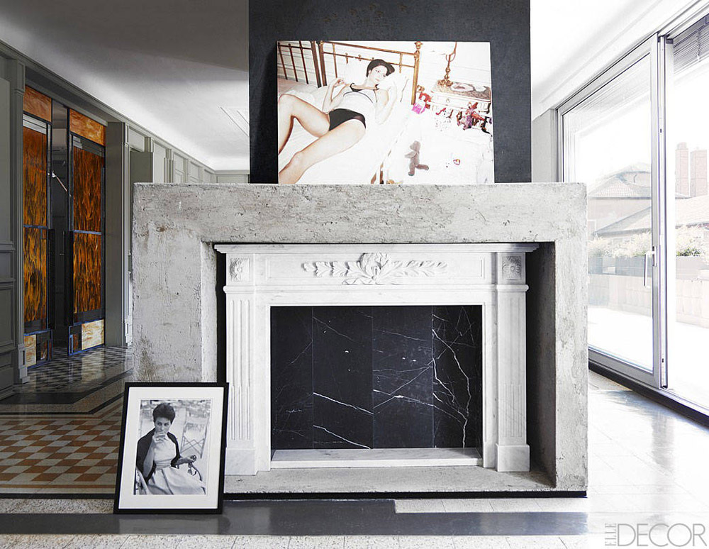 Alessandro Dell'Acqua Milan home concrete Carrera marble fireplace Roberto Rossellini black white photo Juergen Teller ad campaign photography