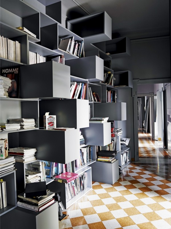 Alessandro Dell'Acqua Milan home library pop out shelves terrazzo floors