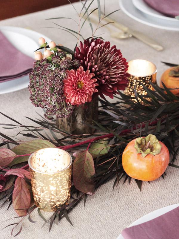Thanksgiving table centerpiece DIY Erika Brechtel flowers persimmon candles detail