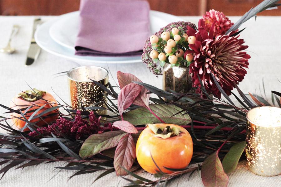 Thanksgiving table centerpiece DIY Erika Brechtel flowers persimmon foliage detail