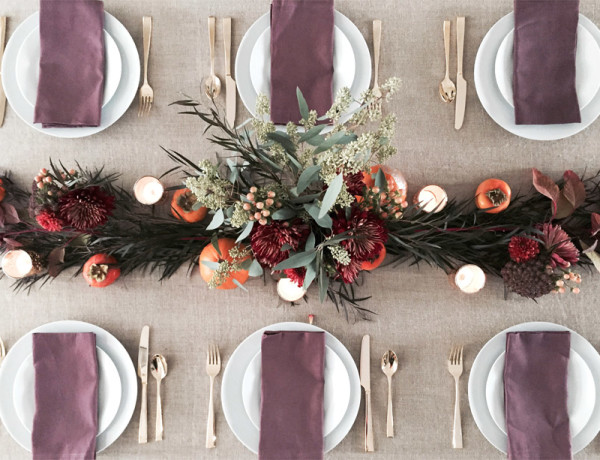 Thanksgiving table centerpiece DIY Erika Brechtel flowers persimmon foliage full table