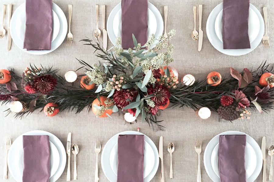 Thanksgiving table centerpiece DIY Erika Brechtel flowers persimmon foliage pumpkins settings