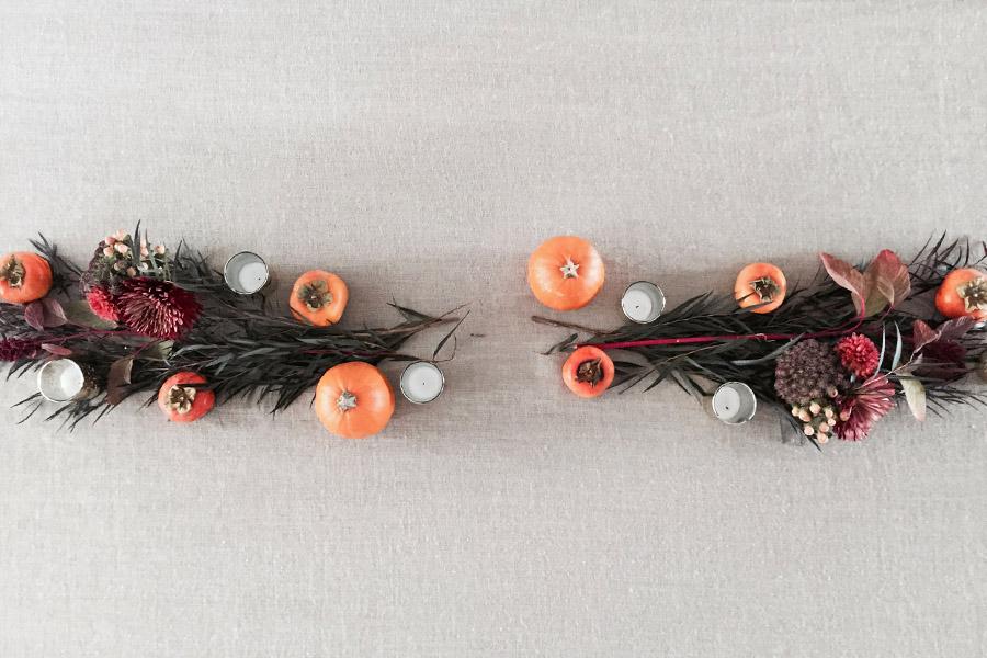Thanksgiving table centerpiece DIY Erika Brechtel flowers persimmon foliage pumpkins step5